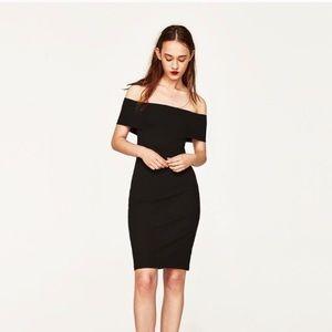 NWOT Zara Off-Shoulder Bardot Cocktail Dress